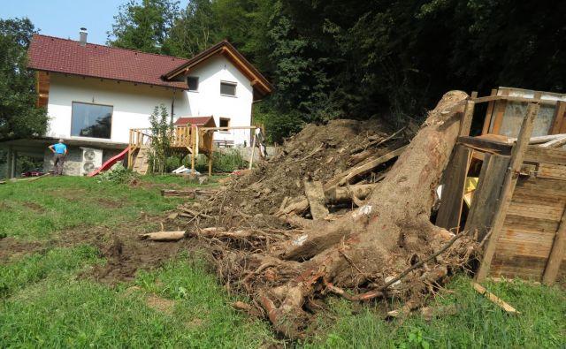 Na pobočju nad hišo družine Likar na Muti je še veliko materiala, ki ogroža hišo. FOTO: Mateja Kotnik