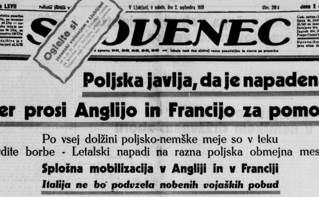 Naslovnica časopisa Slovenec 2. septembra 1939 www. dlib.si
