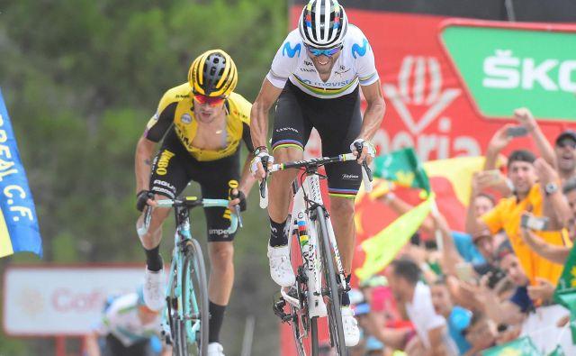 "Alejandro Valverde je na vrhu ""zidu"" komaj prehitel Rogliča. Foto: AFP"