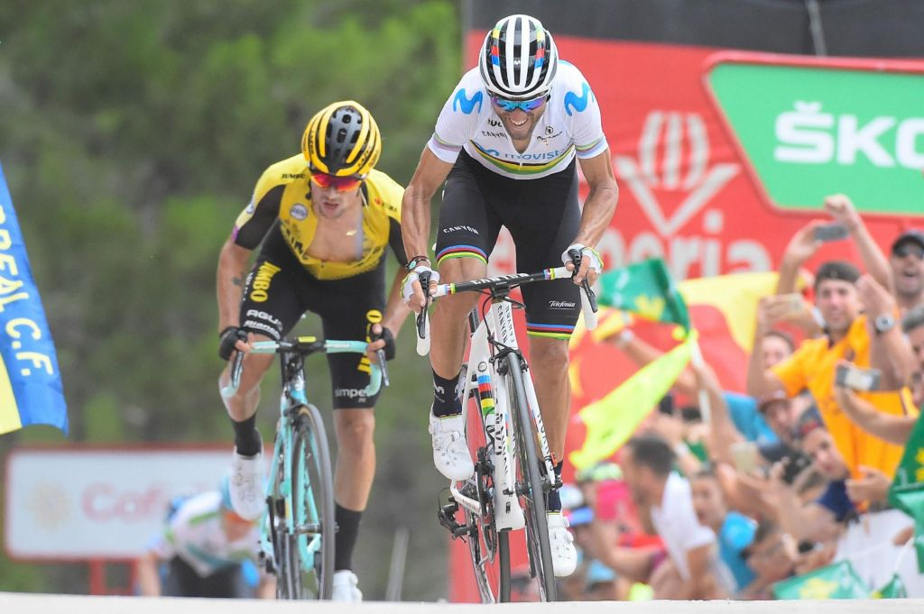 FOTO:Valverde prvi na zidu, Roglič drugi v etapi in v skupnem seštevku