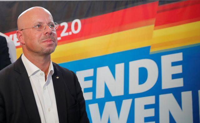 Glavni kandidat AfD v Brandenburgu Andreas Kalbitz je lahko z rezultati stranke izjemno zadovoljen. Foto Reuters