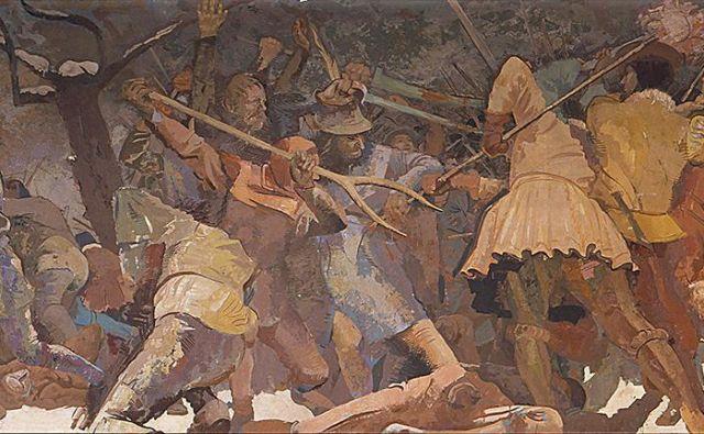 Gojmir Anton Kos: <em>Bitka pri Krškem, 5. februar 1573</em>, 1940 Foto Narodna galerija