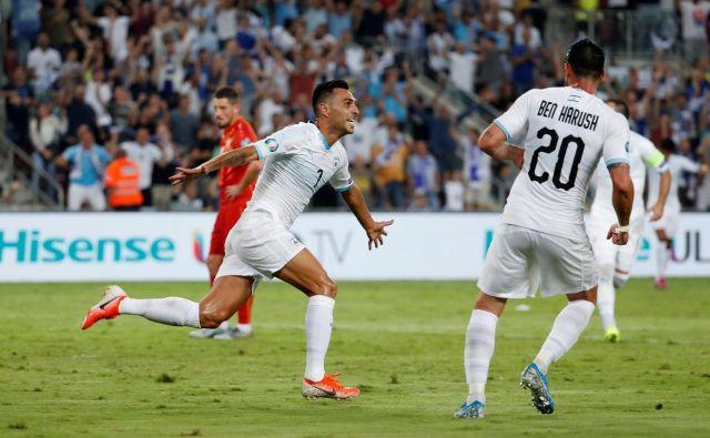 Osmi gol Erana Zahavija v kvalifikacijah za euro 2020 je bil premalo za zmago Izraela proti Makedoniji. FOTO: Reuters