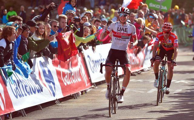 <strong>Primož Roglič </strong>in<strong> Tadej Pogačar</strong> sta ta čas najbolj vroči kolesarski imeni na svetu. FOTO: Ander Gillenea/AFP
