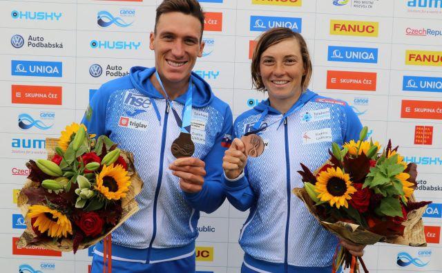 Eva Terčelj in Luka Božič sta bila tretja v Pragi in osvojila drugo mesto v svetovnem pokalu. FOTO: Nina Jelenc/KZS