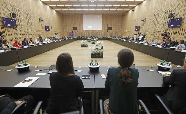 Koalicijski vrh. FOTO: Leon Vidic/Delo