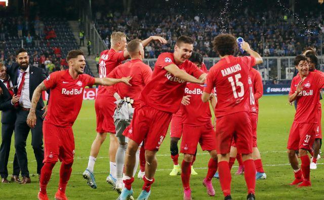 V Salzburgu so le dočakali ligo prvakov in že za uvod veliko slavje ob odlični predstavi proti Belgijcem. FOTO AFP