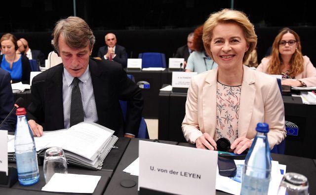 Ursula von der Leyen se je v Strasbourgu srečala z vodstvom evropskega parlamenta in pojasnila svoje načrte. FOTO: AFP