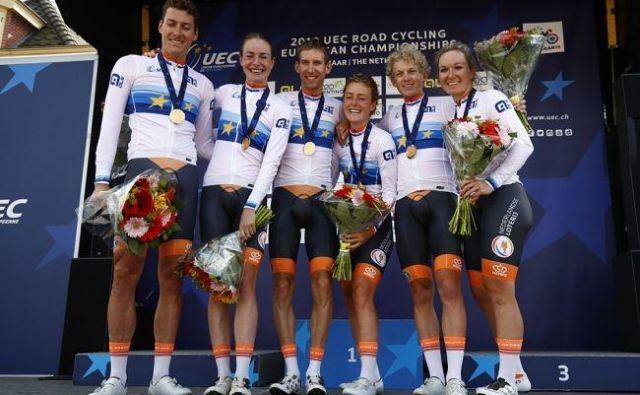 Mešana kolesarska štafeta je bila prvič predstavljenana na letošnjem evropskem prvenstvu na Nizozemskem. FOTO: Bettini Photo