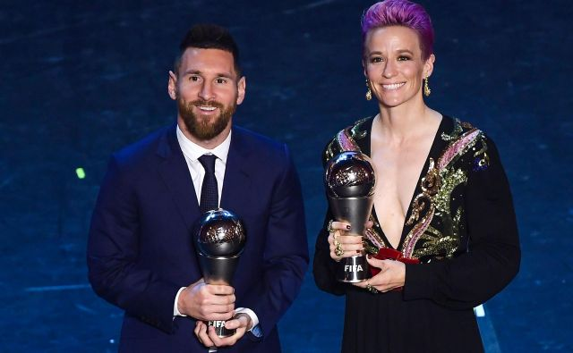 Lionel Messi in Megan Rapinoe. Foto: AFP