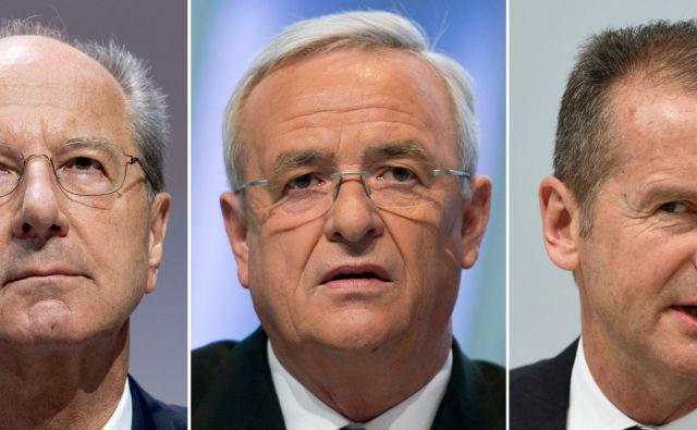 Z leve Hans Dieter Poetsch, Martin Winterkorn, Herbert Diess FOTO: AFP