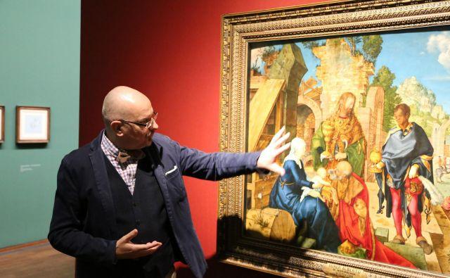 Kustos razstave Christof Metzger pred Dürerjevo sliko <em>Poklon Svetih treh kraljev</em> Foto Milan Ilić