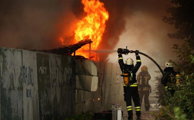 Požar blizu industrijske cone Stegne, na Korotanski cesti. FOTO: Jure Eržen/Delo