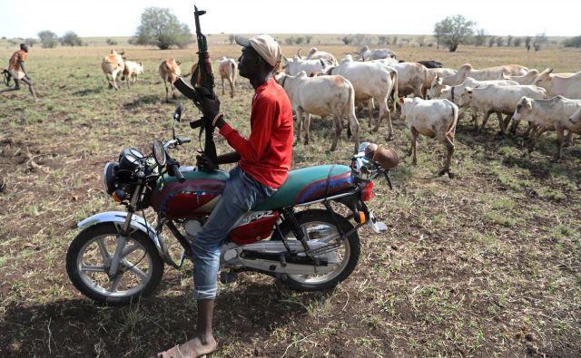 Bojevnik Turkana s puško na motorju ščiti govedo pred sovražnimi bojevniki. FOTO: Goran Tomasević/Reuters