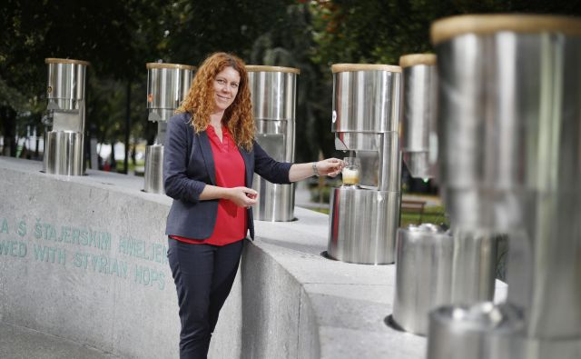 Projekt fontane piv Zeleno zlato je na žalski občini vodila Hana Šuster Erjavec. FOTO: Leon Vidic