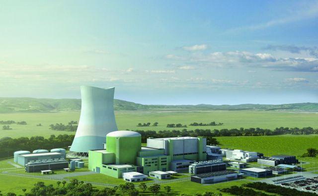 Render drugega bloka krške jedrske elektrarne z več kot 150 metrov visokim hladilnim stolpom. Foto arhiv Gen energija