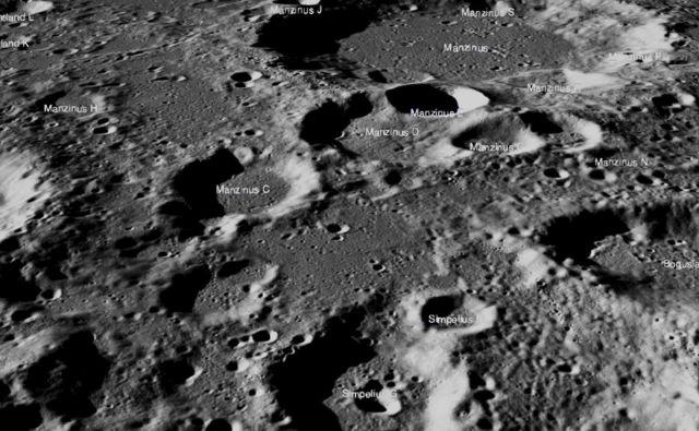 Območje na Luni, kjer je strmoglavilo indijsko plovilo. FOTO:NASA/Goddard/Arizona State University