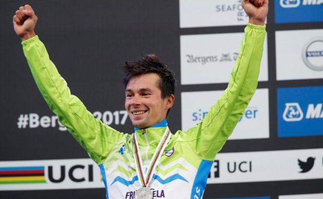 Primož Roglič je predlani v Bergnu osvojil srebro v vožnji na kronometer, upati je, da bo na SP še kdaj prišel tako dobro pripravljen in motiviran. FOTO: Reuters