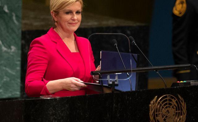 Tudi hrvaška predsednica<strong> </strong>Kolinda Grabar-Kitarović se ne želi odreči volivcem na skrajni desnici.Foto: Afp