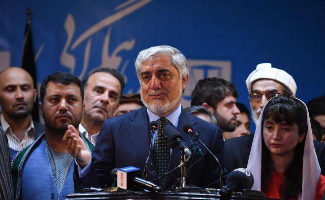 Izvršni vodja Afganistana je zmago na predsedniških volitvah razglasil na današnji tiskovni konferenci.FOTO: Sajad Hussain/AFP