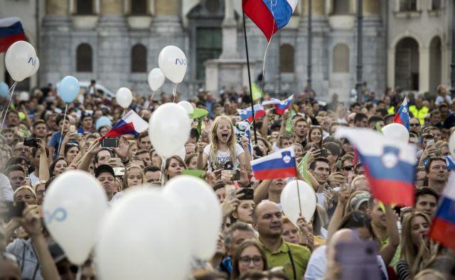 Sprejem za slovenske športnike na Kongresnem trgu v Ljubljani. Foto Voranc Vogel