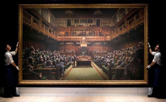 Banksyjevo <em>Nazadovanje parlamenta</em> je doseglo rekordnih 11 milijonov po 13 minutah licitiranja. FOTO: AFP