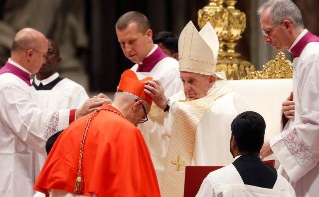 Papež Frančišek je v baziliki sv. Petra v Vatikanu umestil 13 novih kardinalov, med njimi jezuita Michaela Czernyja, podtajnika vatikanskega urada za begunce in migrante. Foto Reuters