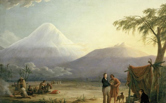 Humboldt in njegov sodelavec Aimé Bonpland v bližini vulkana Chimborazo. Foto Slika: Friedrich Georg Weitsch (1810)