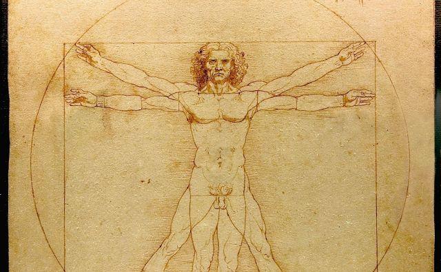 Lenardo da Vinci je risbo <em>Proporci človeškega telesa po Vitruviju</em>, znano kot <em>Vitruvijski človek</em>, ustvaril okoli leta 1490. FOTO: Wikipedia