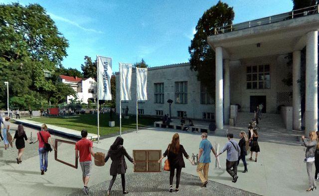 Animacija <em>Poslednjega kóla</em>, ki ga bodo pred Moderno galerijo danes odplesali umetniki.<br /> Foto arhiv Moderne galerije