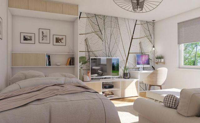 .Dnevna soba in spalnica hkrati. Foto: Tjaša Justin