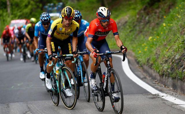 Primož Roglič (levo) in Vincenzo Nibali bosta na dirki po Lombardiji v središču pozornosti, kot sta bila na Giru. FOTO: AFP