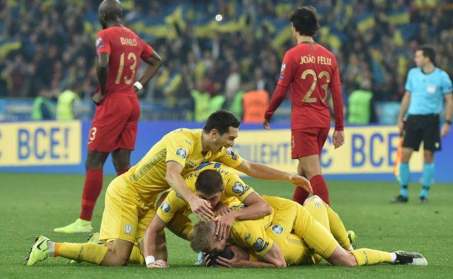 Ukrajina se je še tretjič zapored uvrstila na evropsko prvenstvo in potrdila, da je ena od reprezentanc v vzponu. FOTO AFP
