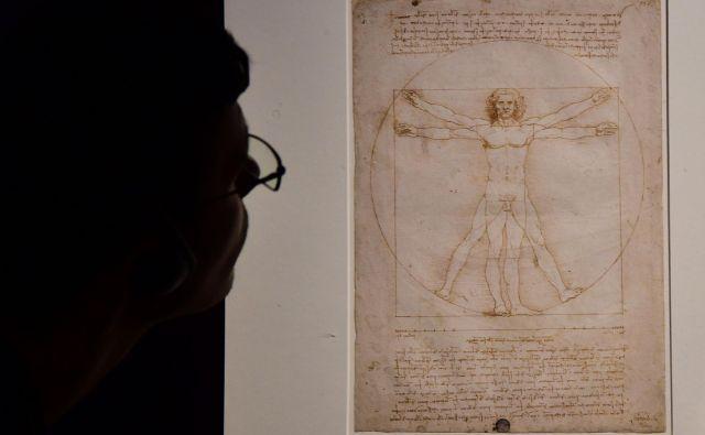 Lenardo da Vinci je risboProporci človeškega telesa po Vitruviju, znano tudi kotVitruvijski človek, ustvaril okoli leta 1490. FOTO: Giuseppe Cacace/AFP