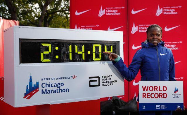 Nova svetovna rekorderka Brigid Kosgei je bila prisiljena predčasno končati šolanje, ker njeni starši niso imeli denarja zanj. FOTO: AFP