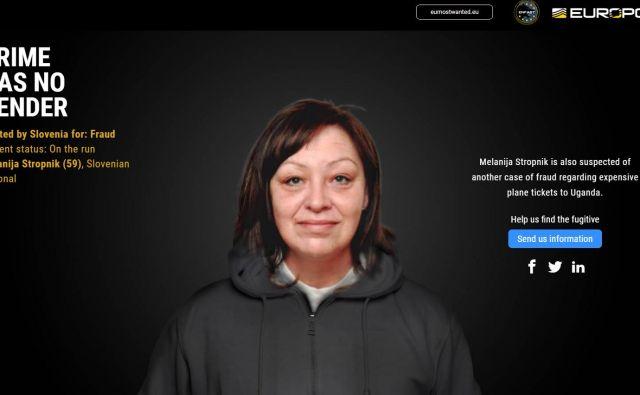 Melanijo Stropnik iščejo zaradi goljufij. FOTO: Europol