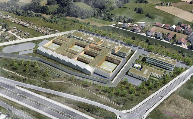 Gradnja novega zapora v Dobrunjah bo predvidoma stala 72 milijonov evrov. Računalniški prikaz