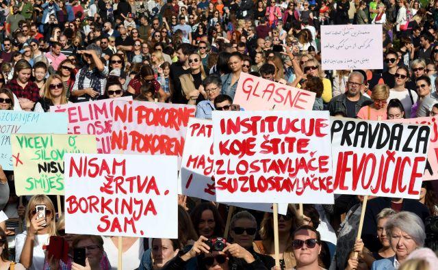 Samo v Zagrebu se je zbralo 7000 protestnikov. FOTO: Denis Lovrović/AFP