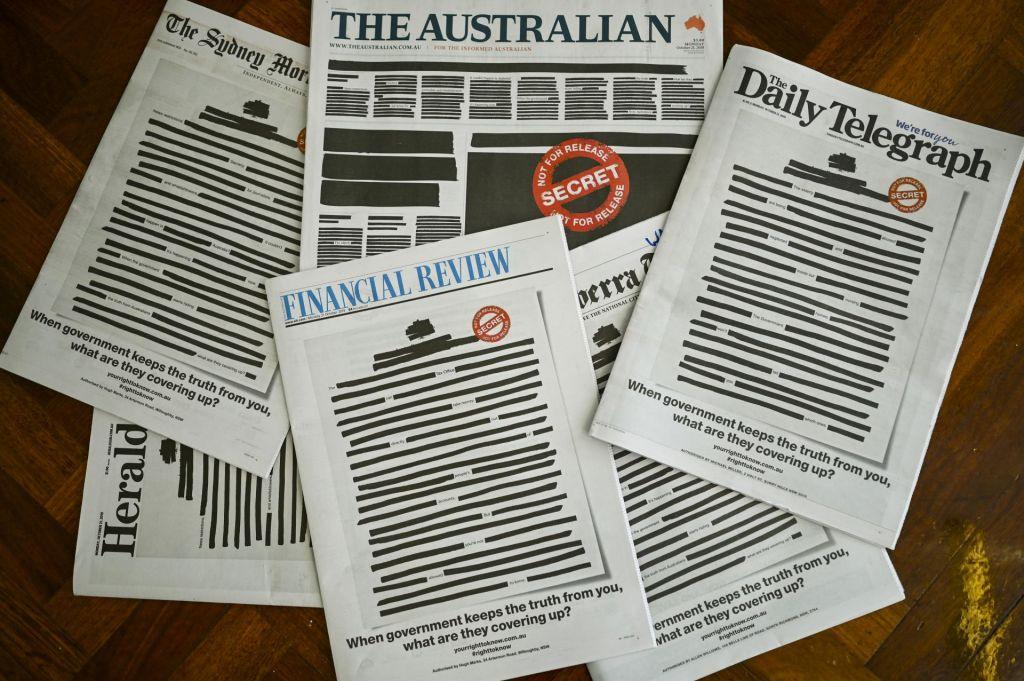 Avstralski časopisi z enotno naslovnico proti cenzuri