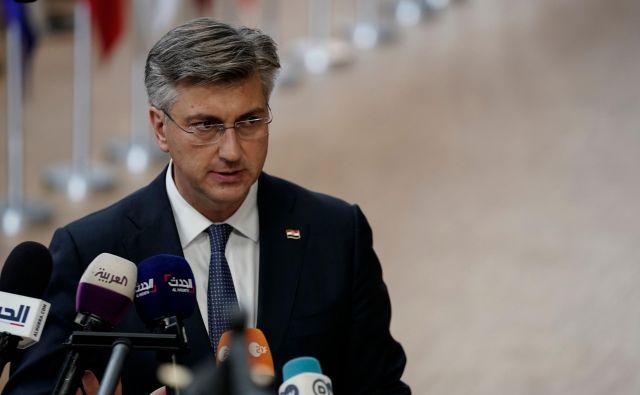 Plenković je izrazil prepričanje, da Slovenija ne more v nedogled blokirati vstop Hrvaške v schengen. FOTO: Kenzo Tribouillard/AFP