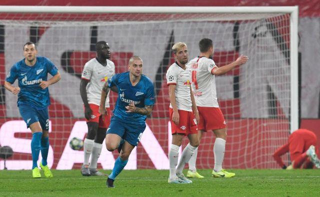 Zenit je bil po prvem polčasu v Leipzigu v boljšem položaju, po 90 minutah pa so se veselili gostitelji. FOTO: AFP