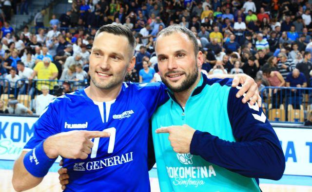 Luka Žvižej in Uroš Zorman sta odigrala zadnjo tekmo, ki je navdušila več kot 3000 navijačev. Foto Tomi Lombar