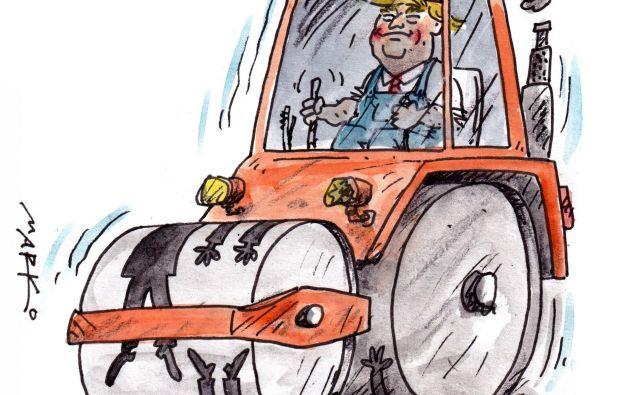 Trump čez trupla. Karikatura: Marko Kočevar