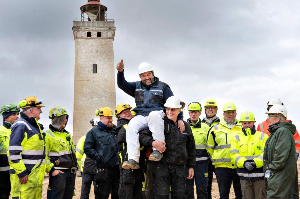FOTO:Danski svetilnik Rubjerg Knude so prepeljali na varno