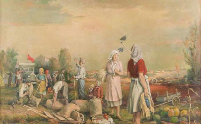 Nande Vidmar:<em> </em><em>Delo na polju</em>, 1949, olje na platnu Fotografije Galerija Božidar Jakac
