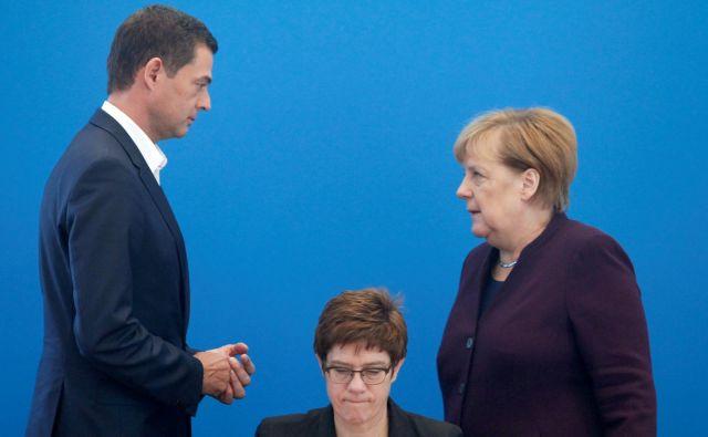 Mike Mohring, Annegret Kramp-Karrenbauer in Angela Merkel