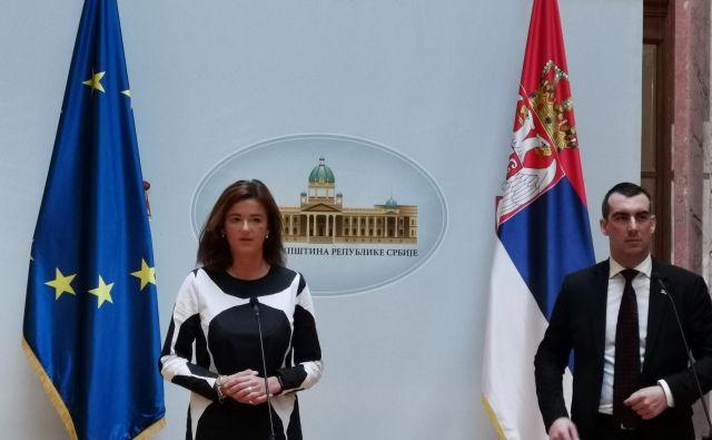 Slovenska evroposlanka Tanja Fajon in poslanec srbske narodne skupščine Vladimir Orlić v Beogradu. Foto Milena Zupanič