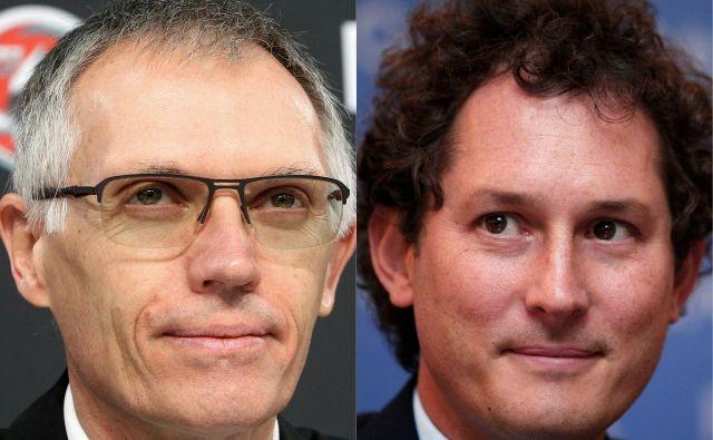 Združeni podjetji FiatChrysler in PSA naj bi vodila Carlos Tavares kot izvršni direkor (levo) in John Elkann kot predsednik. Foto AFP