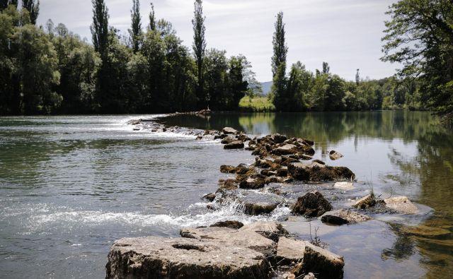 Levi breg mejne reke Kolpe, v Učakovcih. FOTO: Uroš Hočevar