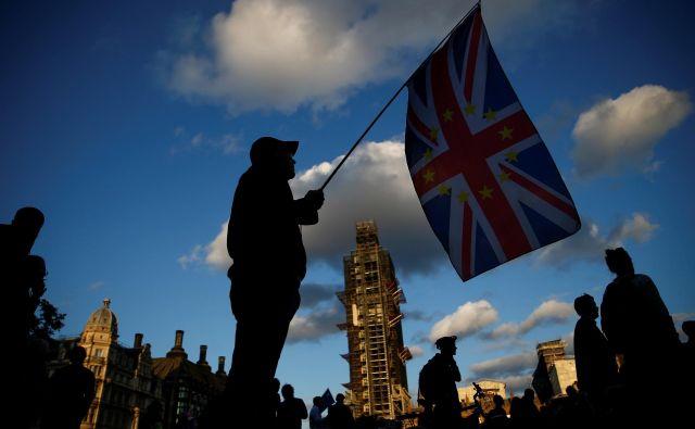 Nasprotnik britanskega izstopa iz EU protestira pred poslopjem britanskega parlamenta. Foto Reuters